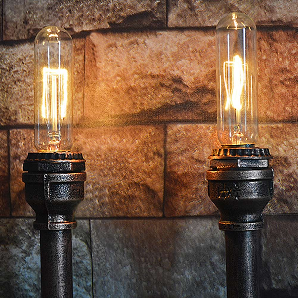 ФОТО 2 Head Nordic American Industrial Wall Lamps Vintage Water Pipe Wall Sconces Bedroom Bedside Light Home Decoration E27 Lighting