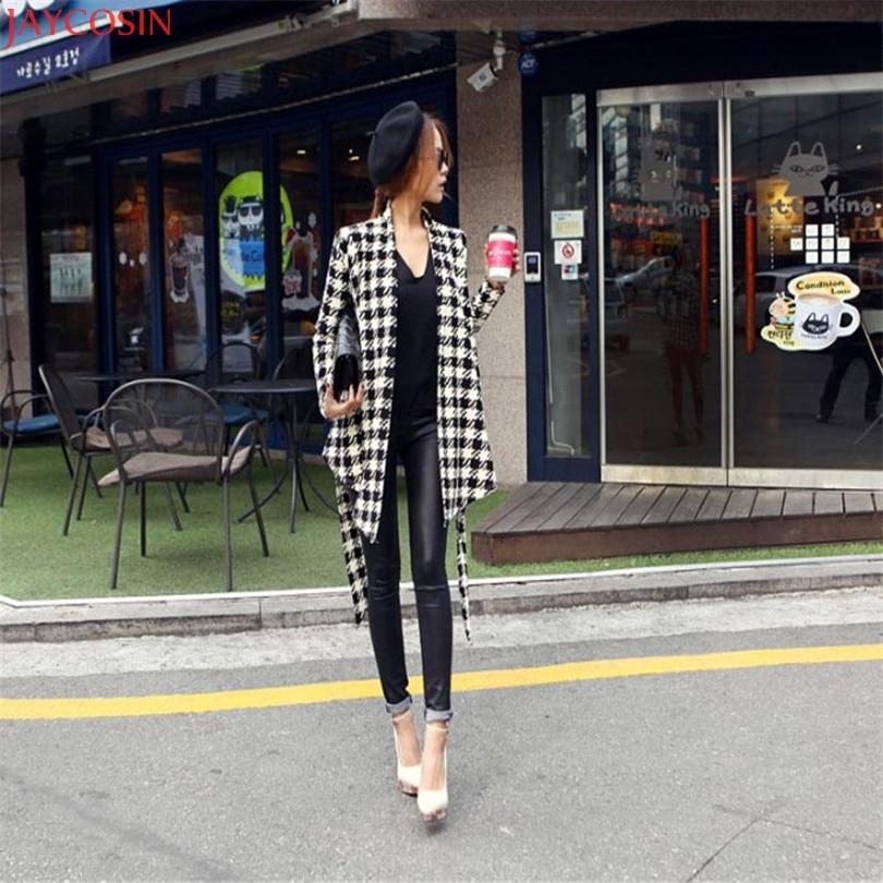 women jacket women basic coats plus size Korean Womens Houndstooth Pattern Thin Cardigan Coat Jacket Outwear TJ 2
