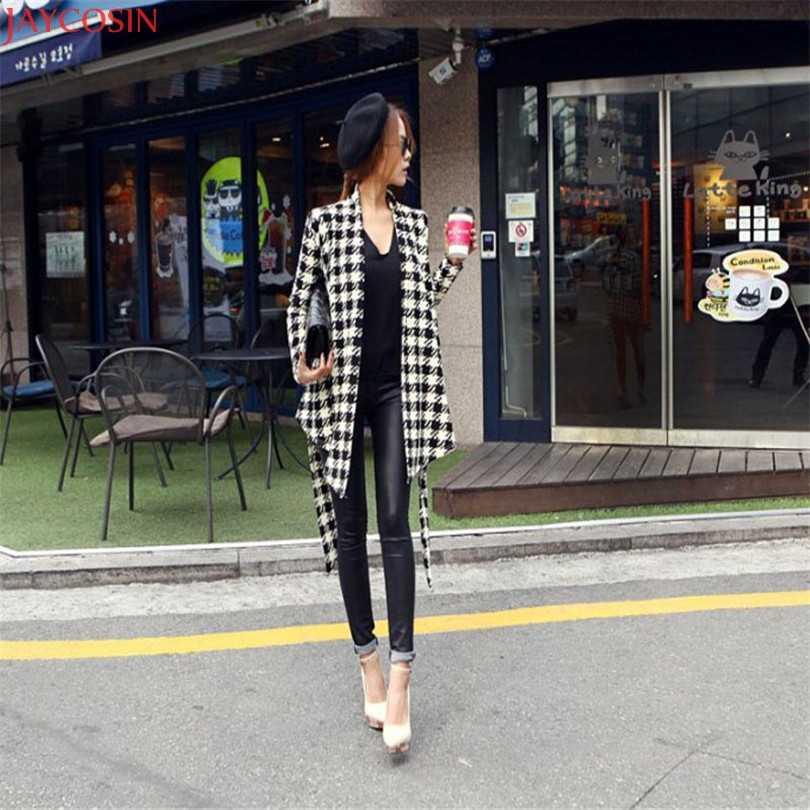 Женская куртка Женские базовые пальто Большие размеры корейский стиль женские s рисунок гусиная лапка тонкий кардиган пальто куртка Верхняя одежда TJ