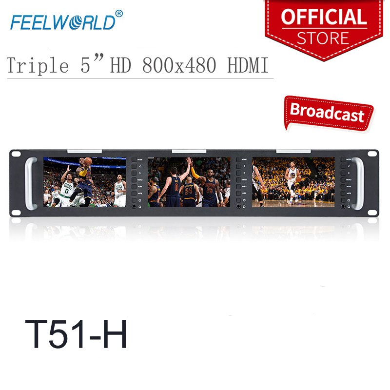 Triple 5″ 2RU 800×480 Broadcast LCD Rack Mount Monitor with 3G-SDI HDMI AV input and output Triple Screen Industrial Monitor T51