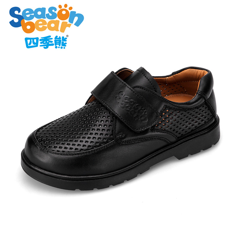 SEASON BEAR Boys Black Leather Shoes Summer Hollow Nonslip Boy Genuine Leather School Uniform Footwear Comfortable Campus Style