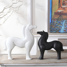 white black ceramic horse War Horse home decor crafts room decoration ornament porcelain animal figurines decorations
