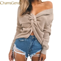 Chamsgend Sexy Long Knitted Sweater Women Pullovers 2017 Autumn Winter Women Outerwear Off Shoulder Cashmere Jersey