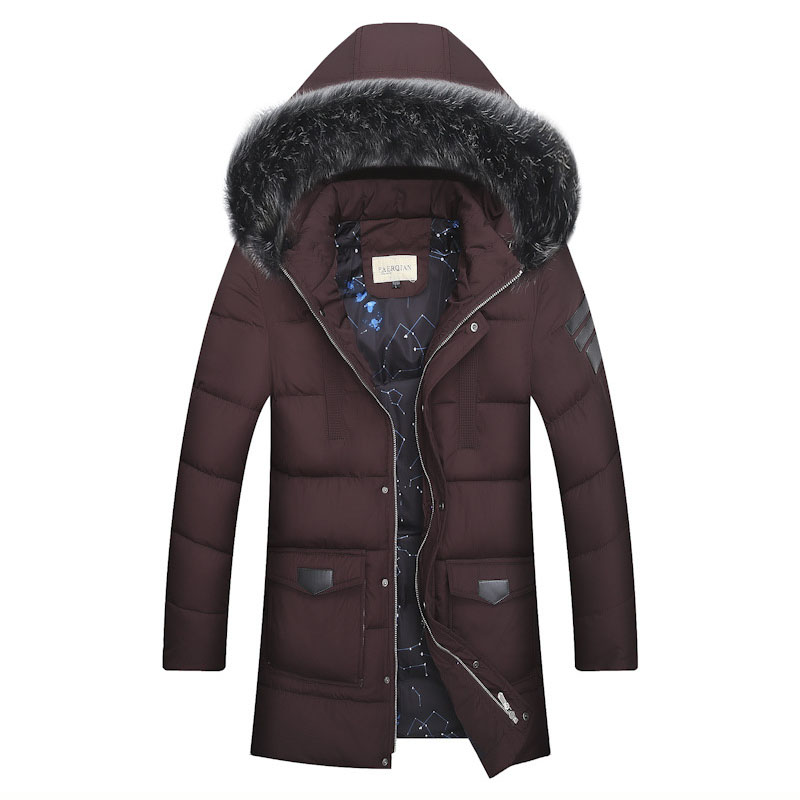 Men jacket winter 2017 Quilted Jacket Male Mid Long Snow Parka Outwear Hooded With Fur Collar Thick Warm Cotton Padded Coat winter coat male thicken warm quilted jacket hooded long sleeve fleece cotton padded coat men parka snow coat outwear 3xl 4xl