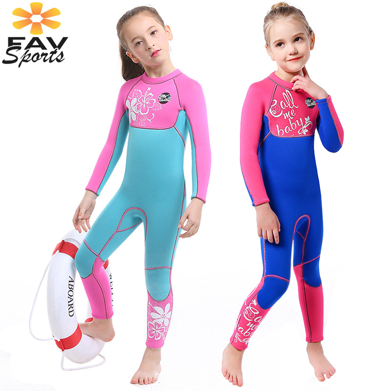 FAVSPORTS 3mm Kids Wetsuit Children Diving Suit for Girls Keep Warm One-piece Long Sleeves UV Protection Swimwear Rash GuardFAVSPORTS 3mm Kids Wetsuit Children Diving Suit for Girls Keep Warm One-piece Long Sleeves UV Protection Swimwear Rash Guard