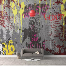 Custom wallpaper mural horror graffiti cement wall living room TV background family art high-grade waterproof material