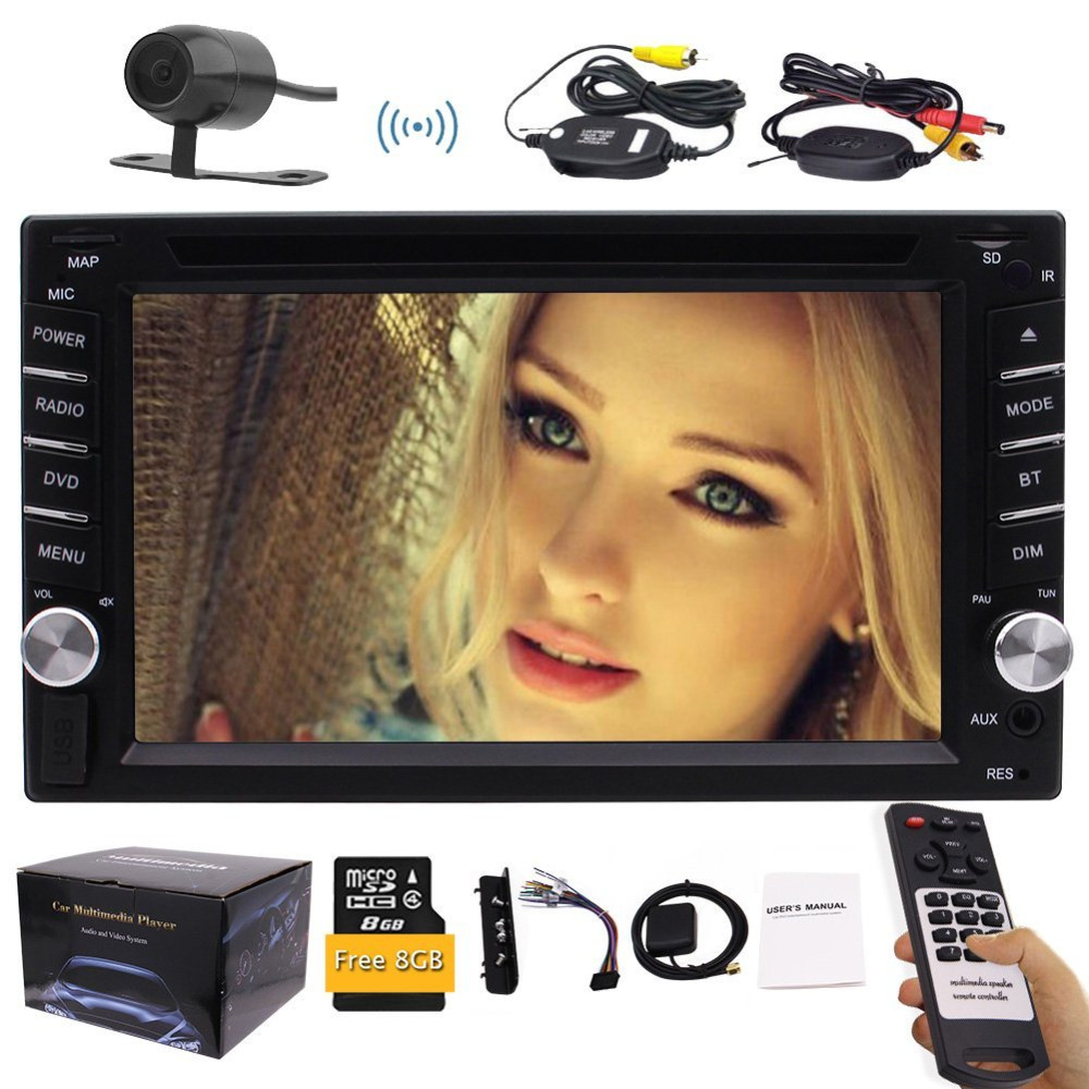 Wireless Backup Camera 6 2 Double Din Vehicle CD DVD Player GPS In Dash Stereo font