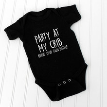 DERMSPE 2019 Newborn Baby Boy Girl Rompers Short Sleeve Party At My Crib clothing Jumpsuit Outfits Bodysuit Clothes 0-24M Black
