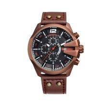 Skone chronograph desporto relógios dos homens top de luxo da marca ao ar livre ocasional relógio pulseira de couro 6 mãos quartz militar relógio de pulso