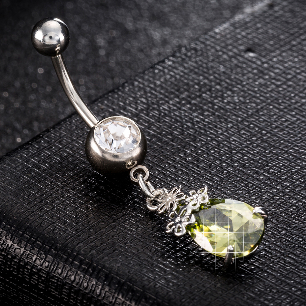 High Quality Piercing Navel and Bell Button Rings AAA Cubic Zirconia Oval Stone Fashion Body Jewelry Flower Bar Bell Button Ring in Body Jewelry from Jewelry Accessories