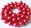 2015 Beautiful 12mm Red Round Shell Pearl Necklace Pearl Beads Fashion Jewelry Rope Chain Necklace Natural Stone 18INCH
