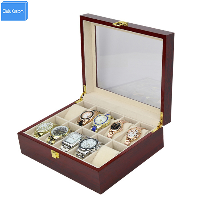 Luxury 10 Slots Mens&Womens Wooden Glossy Lacquer Watch Box Jewelry Collection Display Gift Wooden Case Storage Cajas Relojes watchcase storage luxury 22 slots 2 layer wood glossy lacquer watch box jewelry collection display drop shipping supply