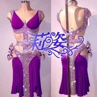 Purple sexy latin dance dress Professional customization latin dance dress girl or lady hot latin dancing dress