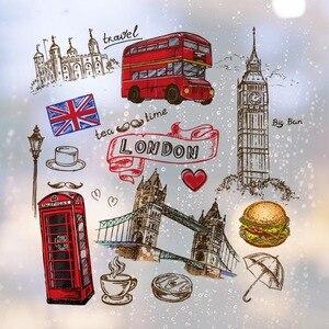 Съемные настенные наклейки с изображением сердца, башни, автобуса, гамбургера, английского знакового знака, городские здания, художественн...