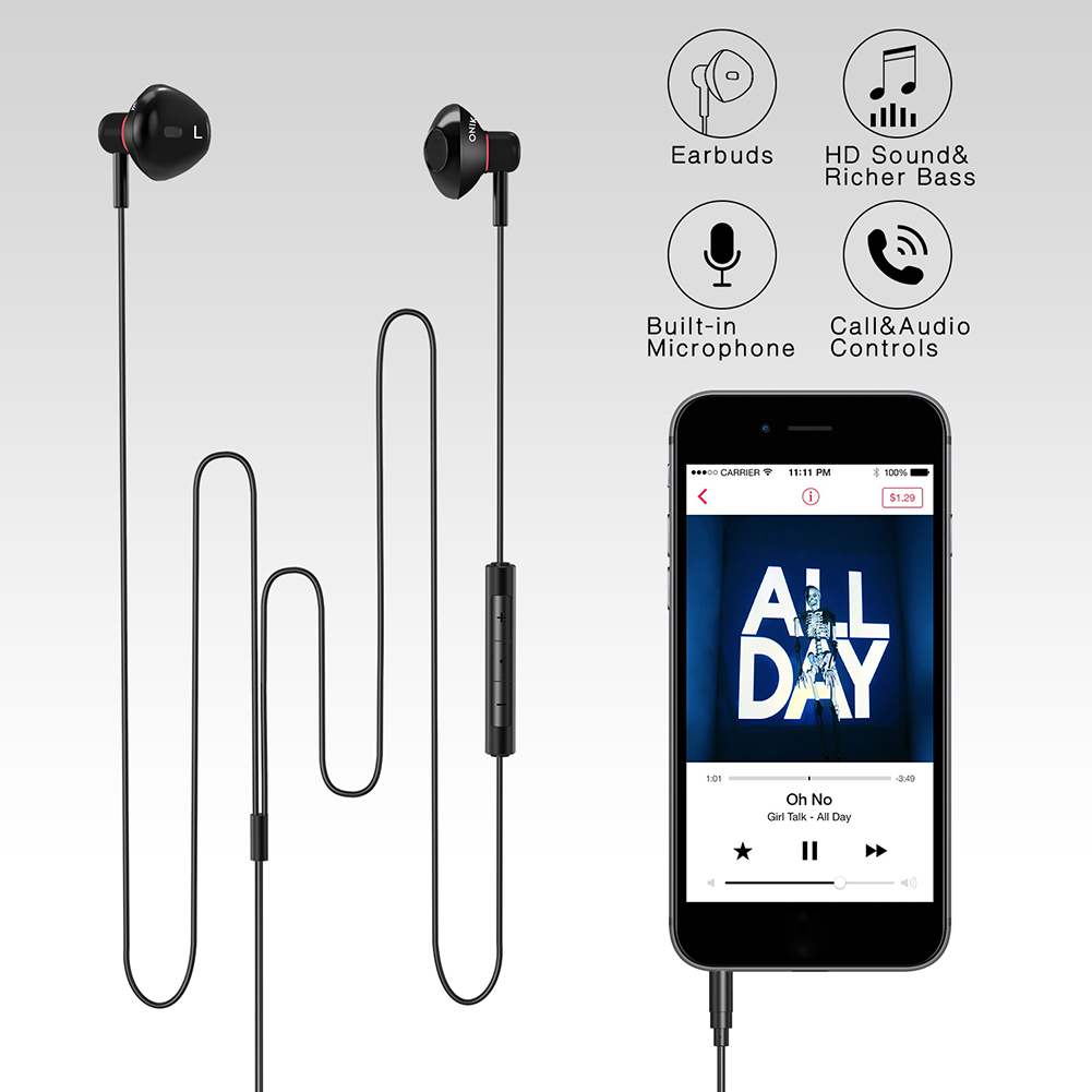ONIKUMA A19 HIFI wired Headset sports portable Earphones In