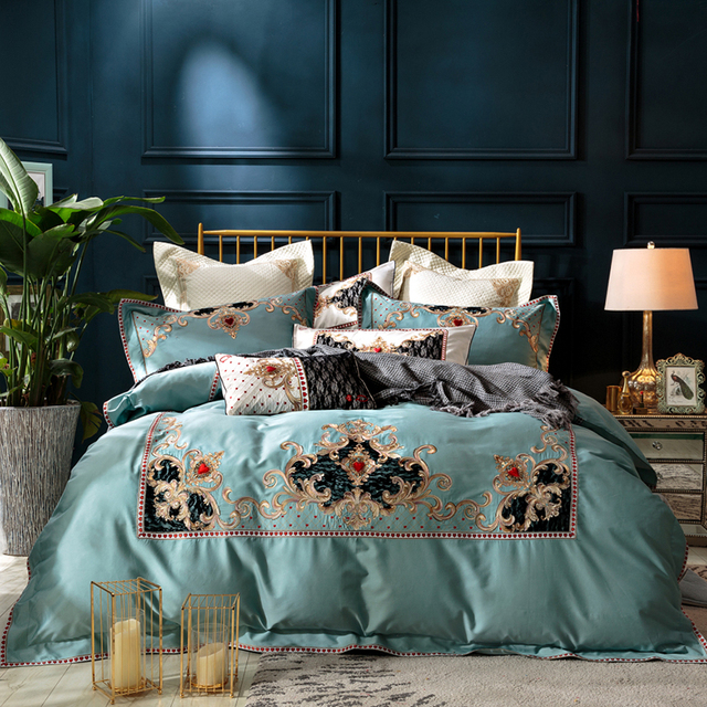 62973746a413 2018 Embroidery Indian Queen Bedding set King Queen Size Egyptian Cotton  Bed set Duvet cover bed sheet Pillowcases Home