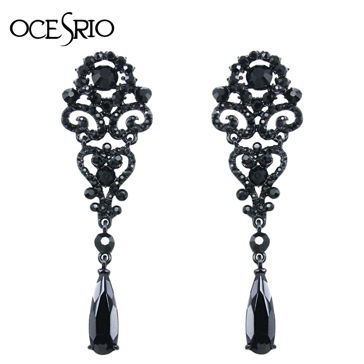 Ocesrio Black Crystal Earrings Hollow Out Long For Women Party Fashion Jewelry Sers H37 In Drop From