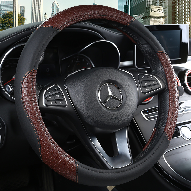 KKYSYELVA PU Leather Universal Car Steering-wheel Cover 38CM Car-styling Sport Auto Steering Wheel Covers Anti-Slip