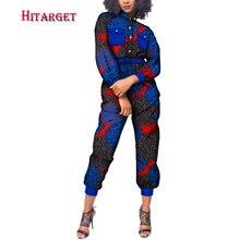 2019  Autumn African Women Cotton Wax Print Jumpsuit Bazin Riche Loose Female Dashiki Elegant WY223