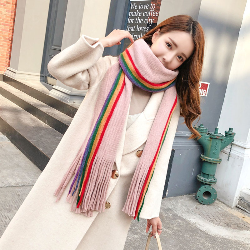 1 Pcs Women Lady Girl Scarf Scarves Tassel Colorful Long Design Fashion For Winter -MX8