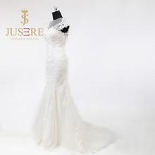 Illusion Neckline Jewel Appliques Keyhole Back Lace Closure Sweep Train Elegance Trumpet Lace Wedding Dresses 2017