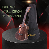 Paisen Brand 26 inch/23inch Tenor Ukulele Grape Sound Hole Hawaiian Guitar 4 Strings Rosewood Electric Ukelele with Pickup EQ