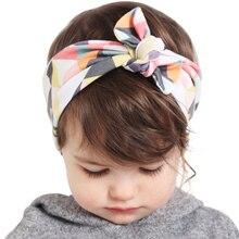 New fashion girls rabbit ears plaid headbands kids hair accessories quality fabrics decorative rose print