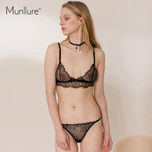 Munllure 2017 Sexy lure transparent lace bra no steel ring cup bra bra suit