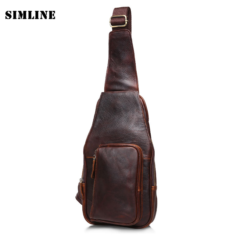 Brand High Quality Vintage Casual 100% Genuine Leather Cowhide Crazy Horse Leather Men Chest Bag Pack Shoulder Bag Bags For Man hot selling crazy horse leather chest pack messenger bag vintage travel bag man and women bosom bag genuine leather 0211