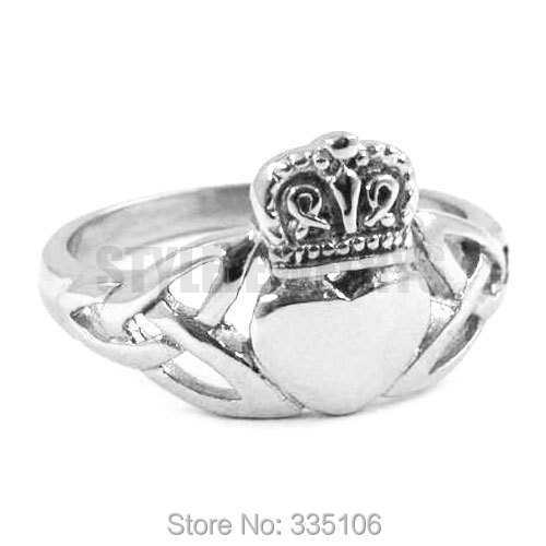 claddagh style celtic knot hold a heart with crown ring stainless steel jewelry - Biker Wedding Rings