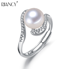 Fashion adjustable Pearl Ring Natural Freshwater Jewelry 925 sterling silver For Women Gift
