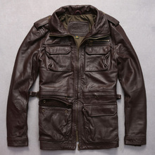 m65 genuine cow leather clothing male turn-down collar slim jacket thickening cowhide outerwear