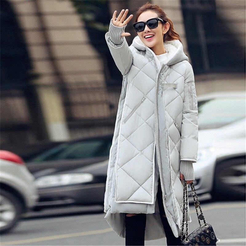 New fashion Winter Women padded Jacket Female Slim long Down cotton Wadded Coat Women Hoodies Parkas
