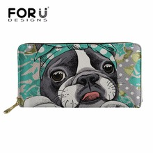 FORUDESIGNS Wallets for Women PU Leather Long Purse Ladies Boston Terrier Cluth Card Phone Holder Wallet Girls Cute Coin Pouch