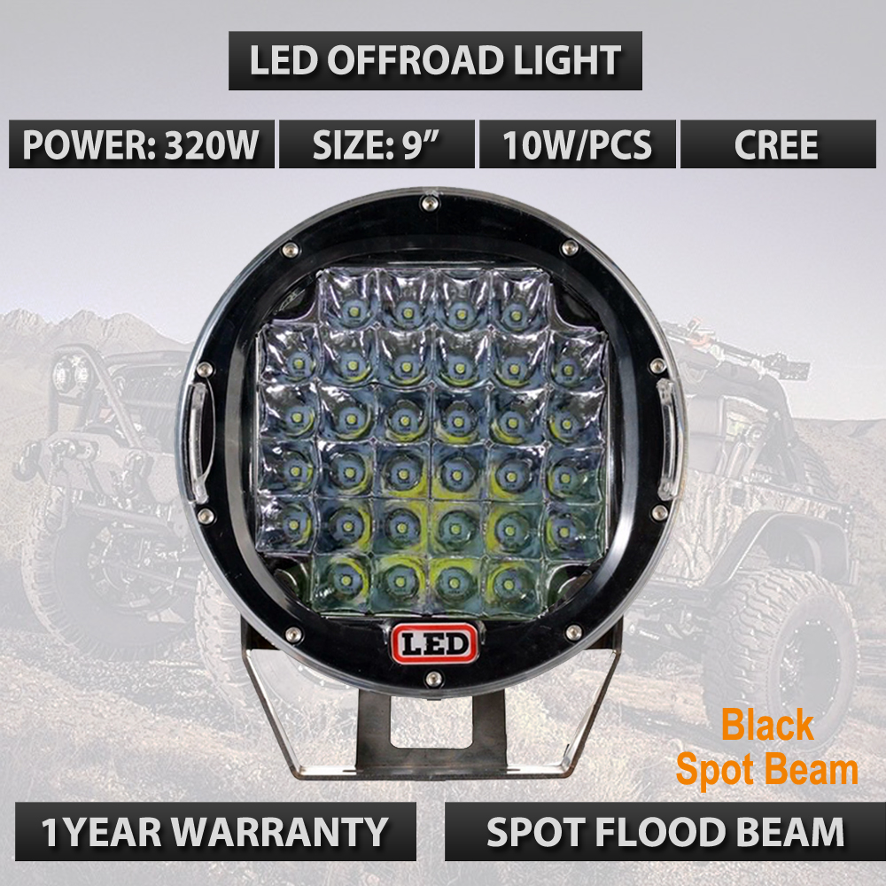 Round 320W Led Work Light, 9inch 320W Led Driving Lights,12V 24V Truck Led Offroad lights 320W External Light For Boat Car x1pc