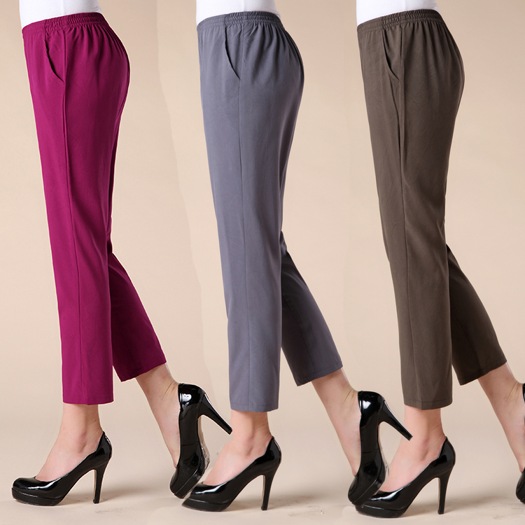 Quinquagenarian Women's Summer Ankle Length Trousers Pants Mother Plus Size Elastic Waist Loose Pant Solid Color Pencil Capris