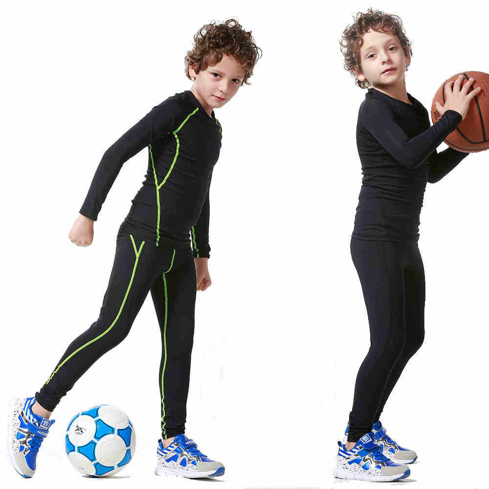 96d4338742 Kids compression base layer running pants shirts sets survetement football  youth soccer basketball sports suit tights