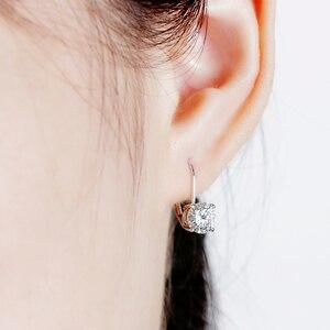 Image 5 - Transgems 14K 585 White Gold 2ct 6.5mm Color Clear Heart Arrows Cut Moissanite Hoop Earring for Women Gold Moissanite Jewelry