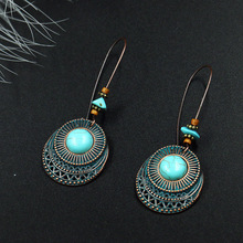 Vintage Indian Tribal Brass Dangle Drop Earrings For Women Female Fashion Bridal Party Wedding Jewelry Ornaments Accessories