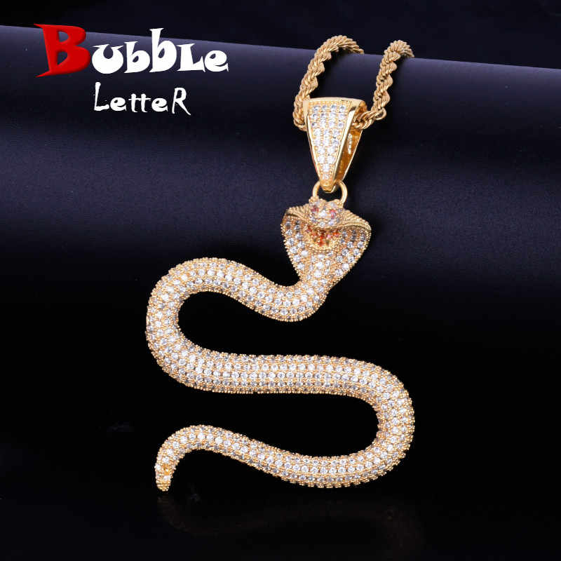 Animal Snake Necklaces & Pendant 4mm Tennis Chain Gold Silver Color Bling Cubic Zircon Men's Hip hop Necklace Jewelry