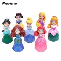 Le cristal Princesses Jouets Neige Blanc Rapunzel Jasmine Aurora Ariel Belle Cendrillon Merida PVC Chiffres Cadeaux pour Fille 8 pcs/ensemble