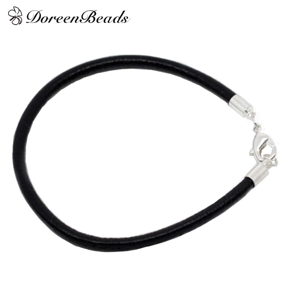 Doreenbeads Silver Color Alloy Lobster Clasp Black Genuine Leather Bracelets  For Men Women Diy Fit European