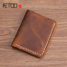 AETOO Handmade wallet male leather casual short retro simple mad horse cowhide mens money Clip