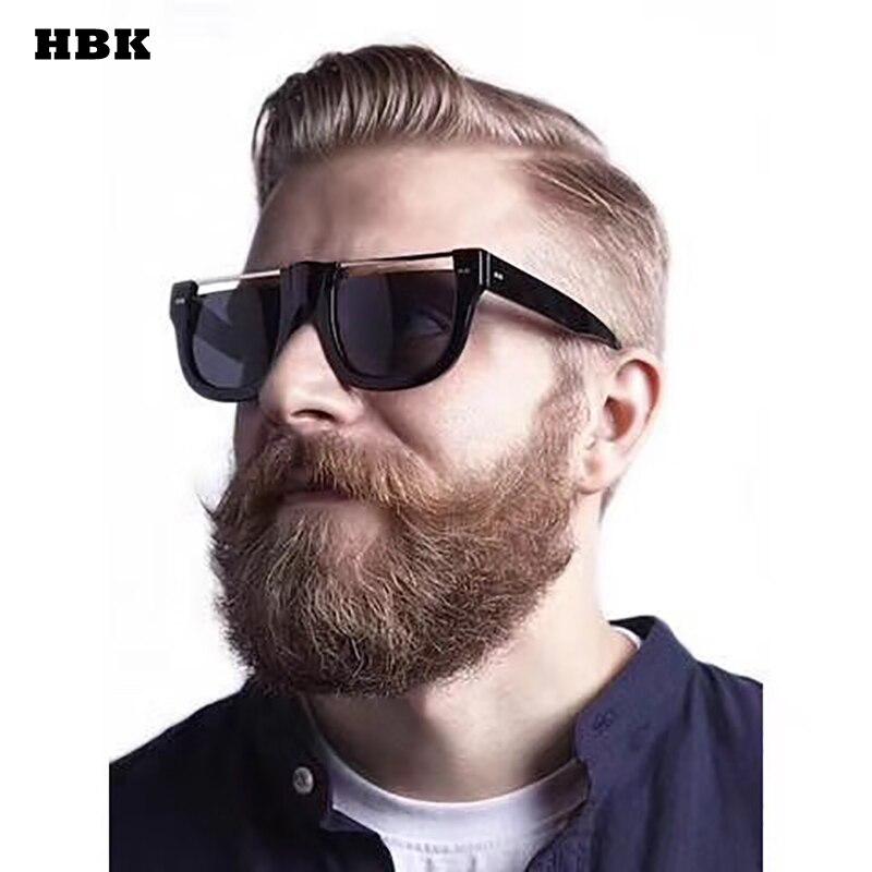 HBK Top quality Men Sunglasses 2018 Brand Design Big Square Semi Rimless Sun Glasses Men ...