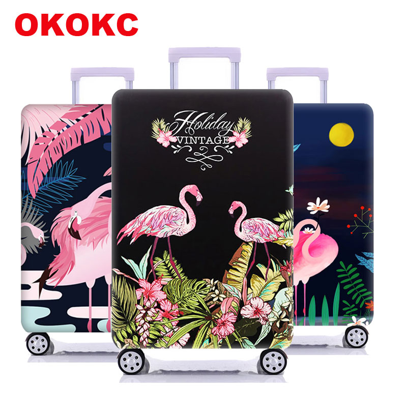 Travel Flamingo Suitcase Protective Cover Luggage Case Travel Accessories Elastic Luggage Dust Cover Apply To 18''-32'' Suitcase