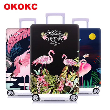 Travel Flamingo Suitcase Protective Cover Luggage Case Travel Accessories Elastic Luggage Dust Cover Apply to 18''-32'' Suitcase travel accessories travel luggage cover protective suitcase cover trolley case travel luggage dust cover for 18 to 28 inch bag