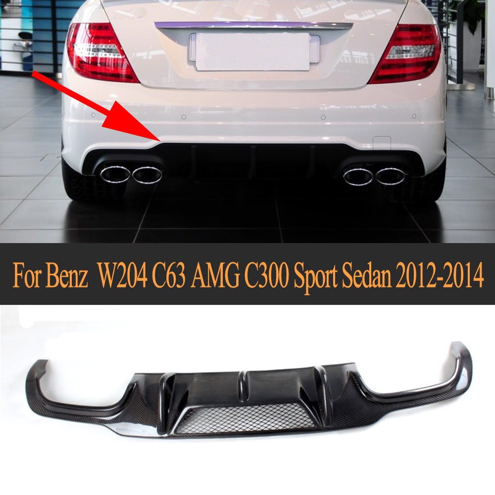 Carbon Fiber Rear Bumper Diffuser for <font><b>Mercedes</b></font> <font><b>Benz</b></font> <font><b>C</b></font> <font><b>Class</b></font> <font><b>W204</b></font> C300 Sport C63 AMG Sedan 2012-2014 Rear Diffuser Lip <font><b>Spoiler</b></font> image