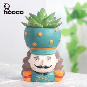 Image 4 - Горшочки для суккулентов ROOGO Щелкунчик в форме цветка, горшочки для суккулентов, Европейский ретро мультяшный персонаж, домашний декор, сад, гостиная, балкон