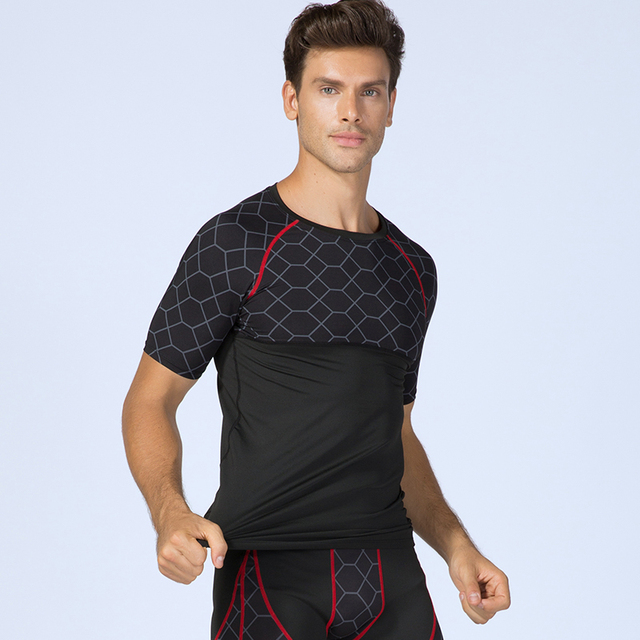 2018 Мужская футболка для фитнеса быстросохнущая рубашка для бега Мужская спортивная одежда спортивная рубашка мужская футболка спортивная одежда