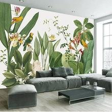 3d обои в стиле ретро с тропическим лесом попугаями пальмами